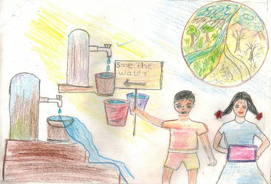 painting by Aayush Kadam - Save water