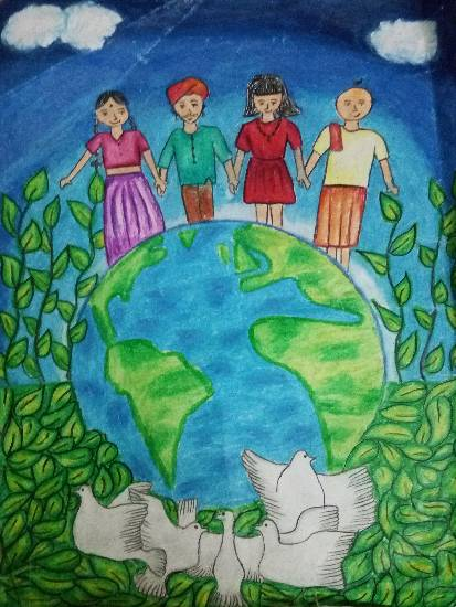 Painting  by Achira Shah - Save Trees, save Earth
