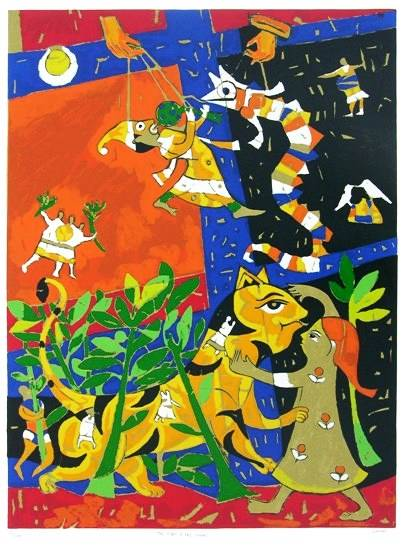 The Tiger and The Snake, print by Jagdeep Smart