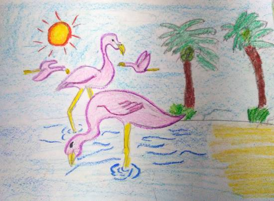 Flamingos, painting by Atharva Atish Jadhav