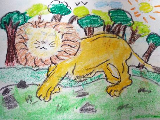 painting by Atharva Atish Jadhav - King of the Jungle - Lion
