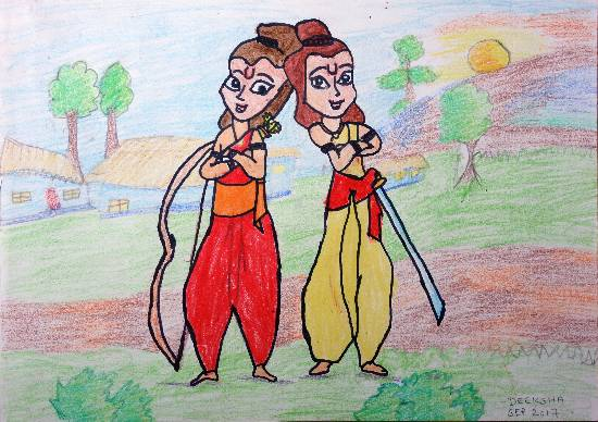 Luv and Kush - Sons of Lord Rama, painting by Deeksha Srineet