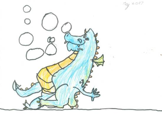 painting by Deeksha Srineet - Bubble Blowing Dragon - From my Lovely Book