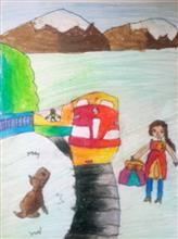 Painting  by Deeksha Srineet - Trains are So Much Fun