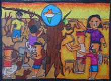 Painting  by Drona Hirwe - Don't cut trees