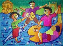 Painting  by Drona Hirwe - Children
