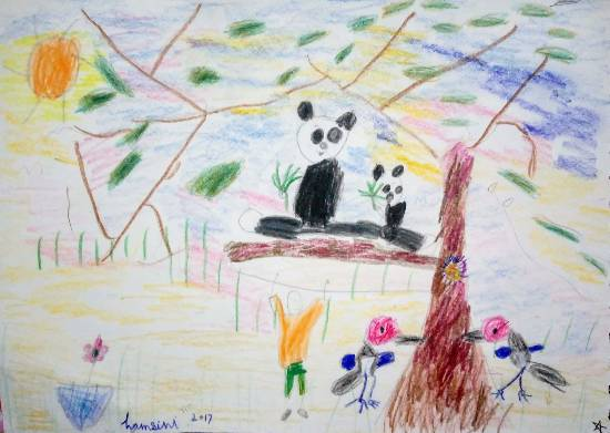 painting by Hamsini Aswin - Pandas and Little Birdies