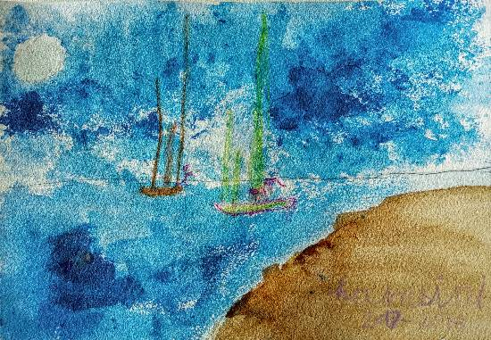 Painting  by Hamsini Aswin - Moonlit sea