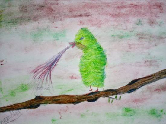Painting  by Hamsini Aswin - Bird on a branch