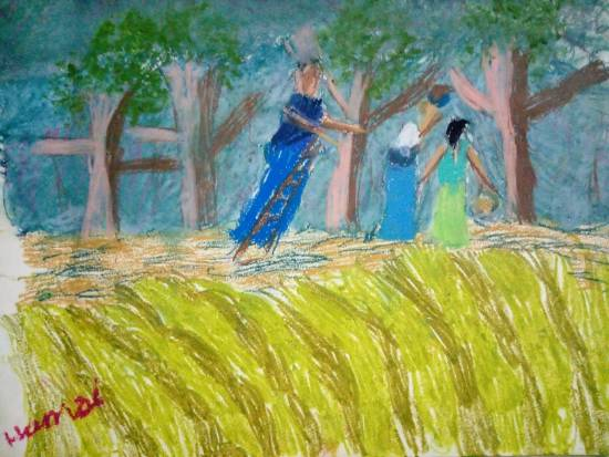 Painting  by Hamsini Aswin - Ladies on a farm