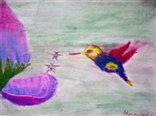 Painting  by Hamsini Aswin - Bird and flower
