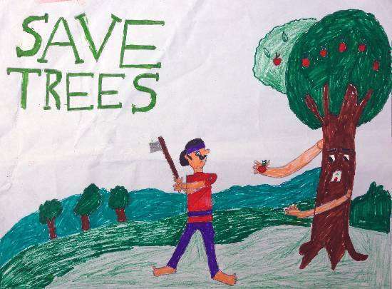 Painting  by Gurdit Singh - Save Trees