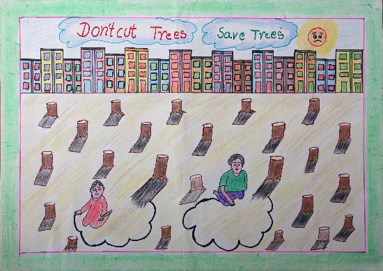 painting by Jannat  - Save Trees