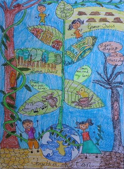 Painting  by Medini Mahesh Padoshi - Save Trees