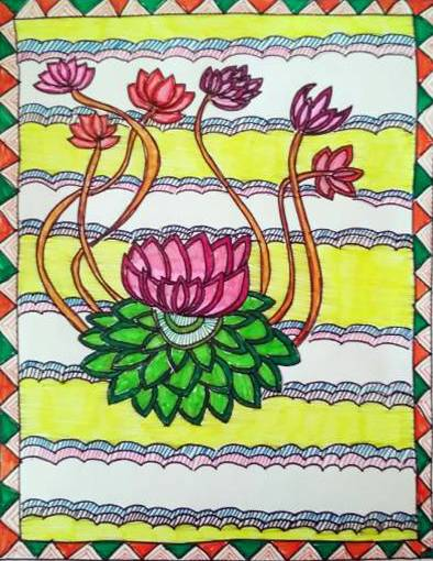 Painting  by Medini Mahesh Padoshi - Lotus