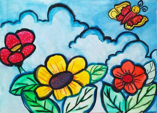 Painting  by Medini Mahesh Padoshi - Butterfly & Flowers