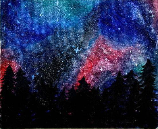 painting by Naysha Satyarthi - Galaxy night - 2