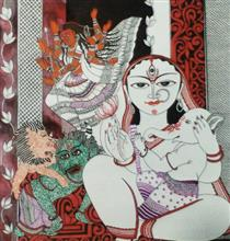 Durga with Ganesha, Painting by Abhisek Ghosh