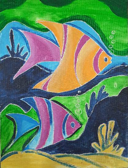 painting by Mrunal Vijay Todkar - Fishes