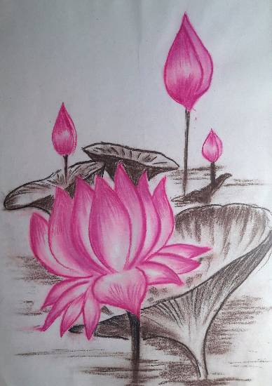 Lotuses, painting by Mrunal Vijay Todkar