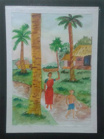 painting by Mrunal Vijay Todkar - Village
