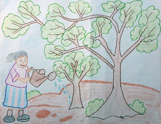 painting by Rajveer Singh - Save Trees