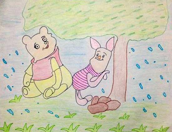 painting by Rajveer Singh - Pooh and Piglet