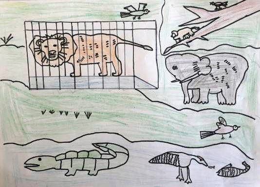Animals, painting by Rajveer Singh