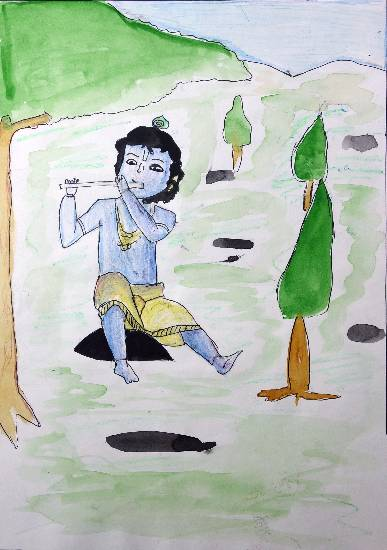 Painting  by Sahil Nagvekar - Little Krishna