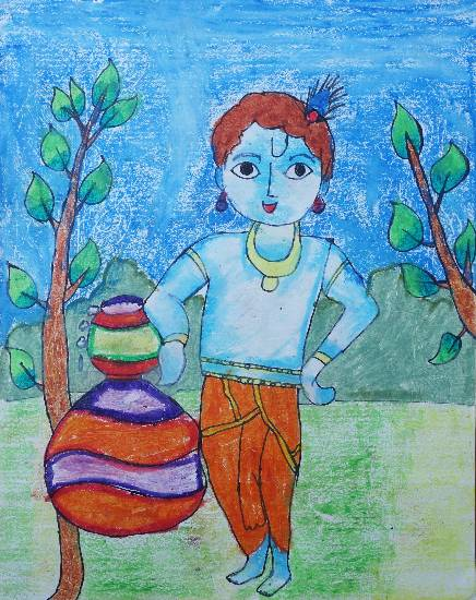 Painting  by Sargun Maini - Little Krishna