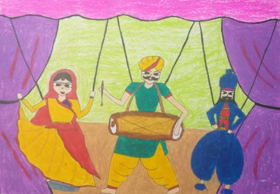 Painting  by Sargun Maini - Puppet show