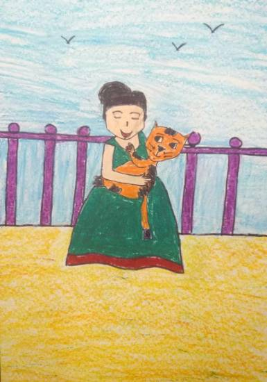 Painting  by Sargun Maini - Me and my pet