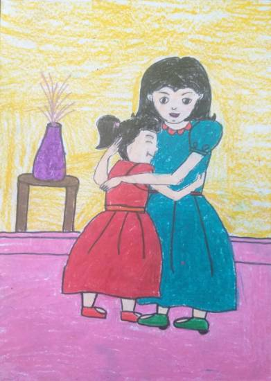 Painting  by Sargun Maini - Mom and Me