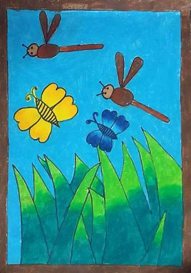 Painting  by Sohan Raghavendra Edke - Insects on grass