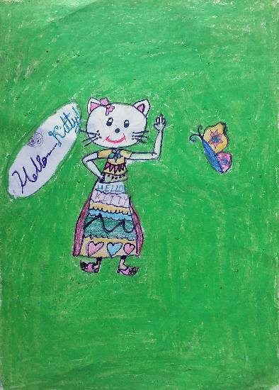 Painting  by Swanandi Ananda Babrekar - Hello Kitty