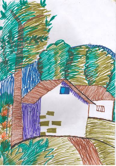 Painting  by Swanandi Ananda Babrekar - A house in forest