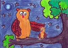 Painting  by Swanandi Ananda Babrekar - Baby Owl and Mother