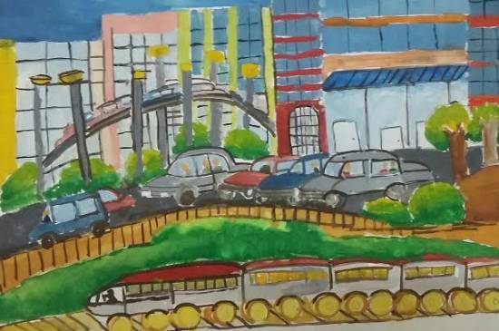 painting by Mugdha Chandrabhanu Patnaik - City