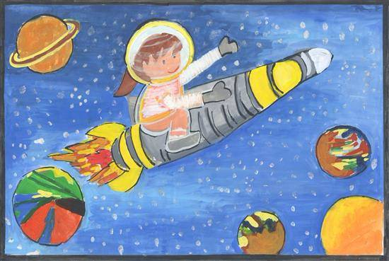Outer space, painting by Mugdha Chandrabhanu Patnaik