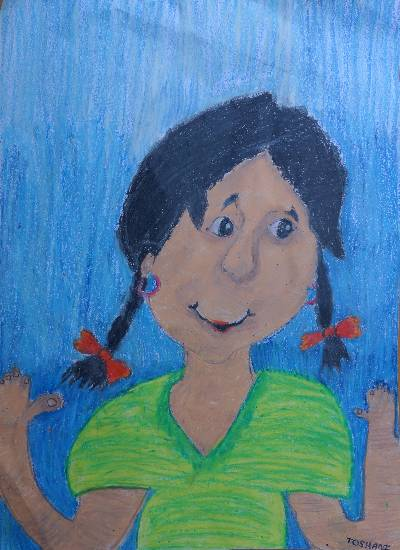 painting by Toshani Mehra - Save girl child