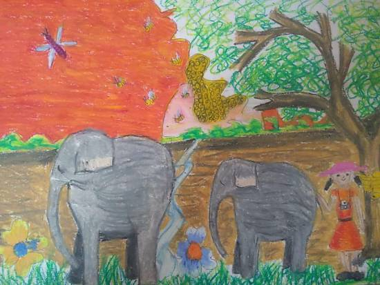 Elephants, painting by Toshani Mehra