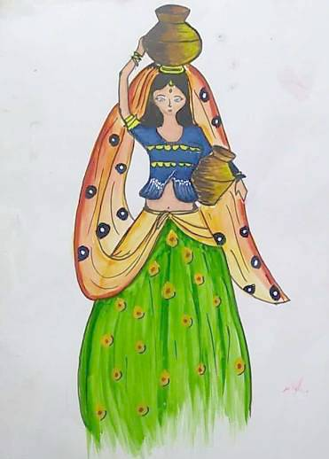 Indian beauty, painting by Toshani Mehra