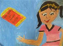 Painting  by Toshani Mehra - Girl with book
