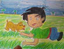Painting  by Toshani Mehra - Dog and boy