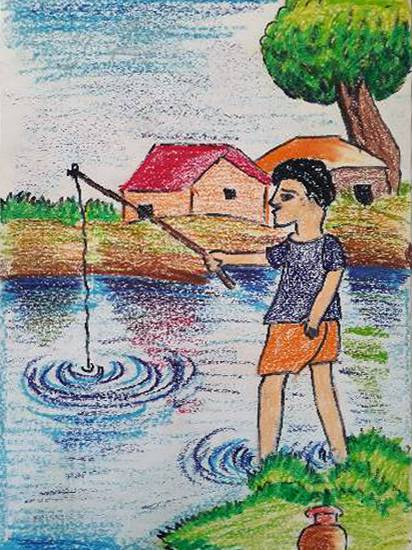 Painting  by Turjnema Khatun - Fishing