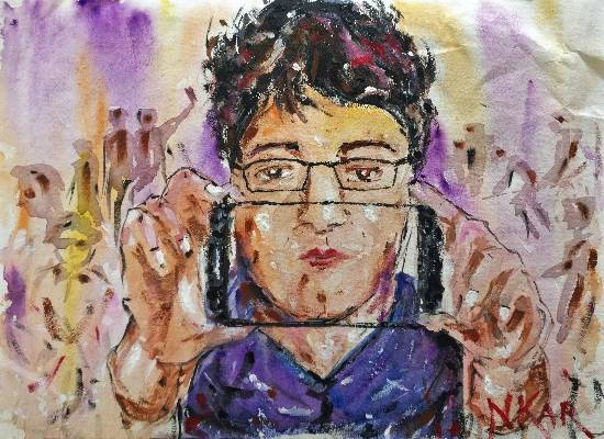 Painting  by Nabojit Kar - Life in a Selfie