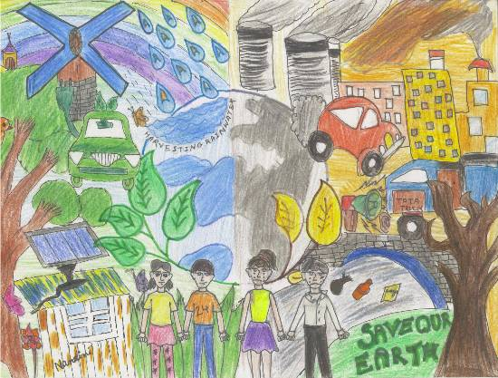 Painting  by Nandini Sushant Jain - Save Our Earth