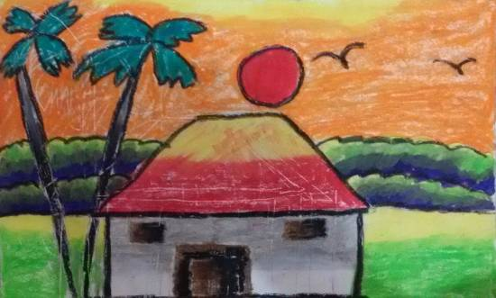 painting by Navya Harendra Mishra - Sunset