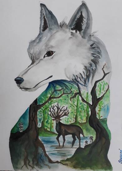 Painting  by Sayuri Sunil Bhanap - The forest spirit