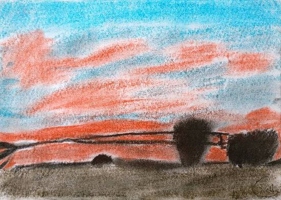 sunset landscape painting by Neil Gaur - medal winner in Khula Aasmaan painting competition